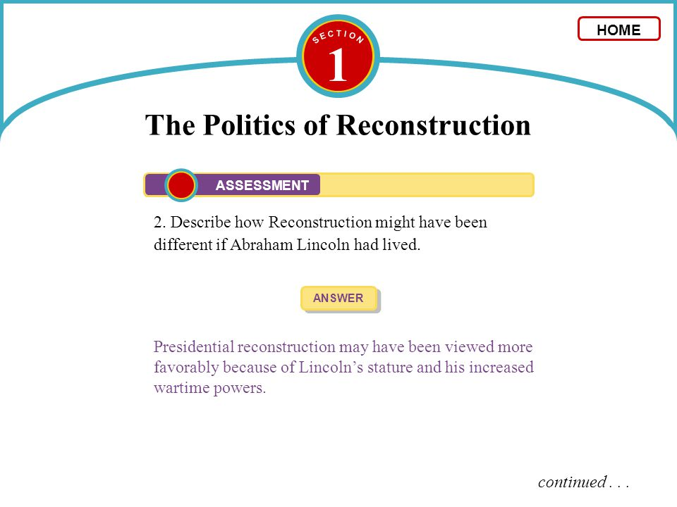 Printables of Chapter 12 Section 1 The Politics Of Reconstruction ...