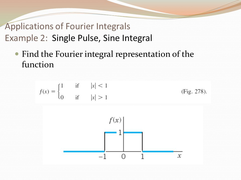 Applications of Fourier Integrals Example 2: Single Pulse, Sine Integral