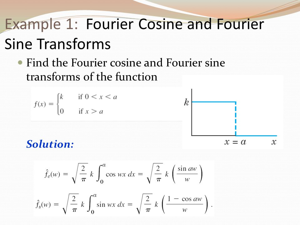 Example 1: Fourier Cosine and Fourier Sine Transforms