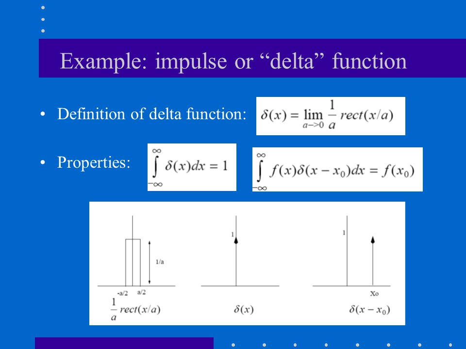 Example: impulse or delta function