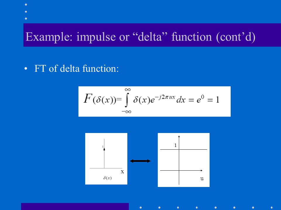 Example: impulse or delta function (cont'd)