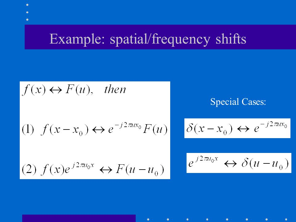 Example: spatial/frequency shifts