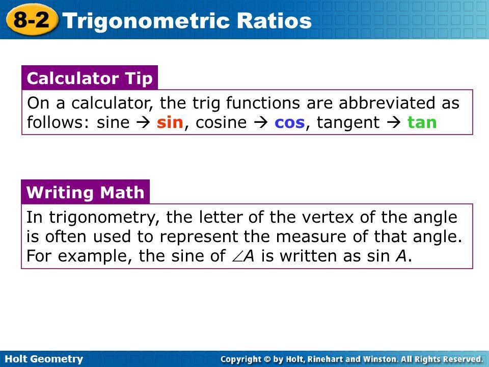 Trigonometric Ratios Warm Up Lesson Presentation Lesson Quiz 11.4/5 ...