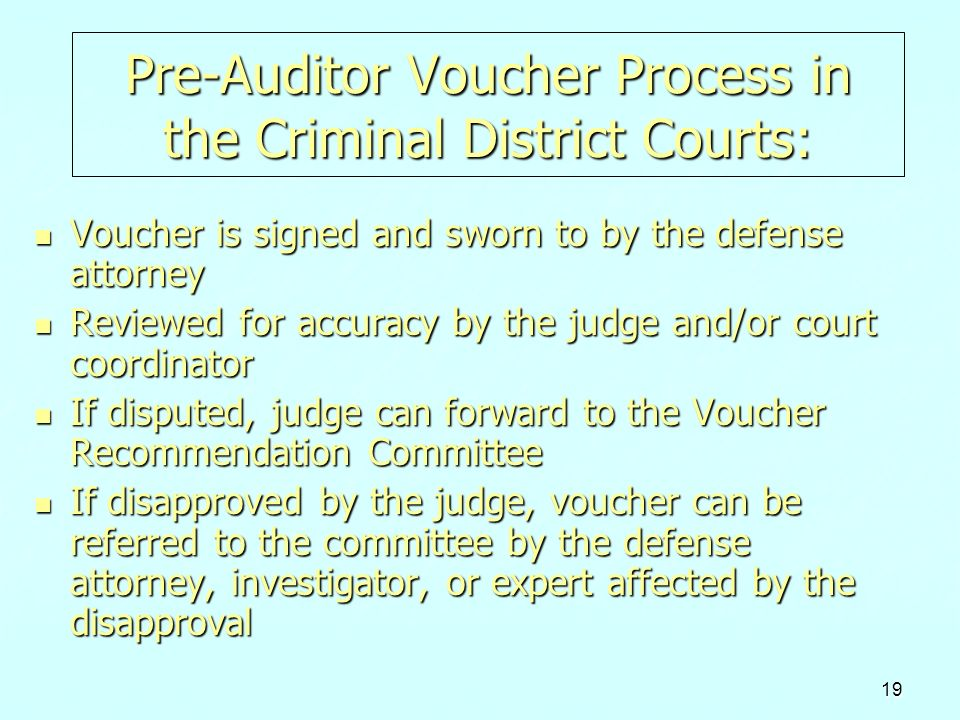 Pre-Auditor Voucher Process in the Criminal District Courts: