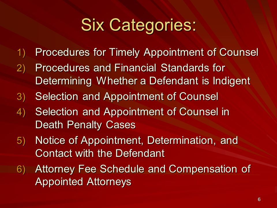 Six Categories: Procedures for Timely Appointment of Counsel