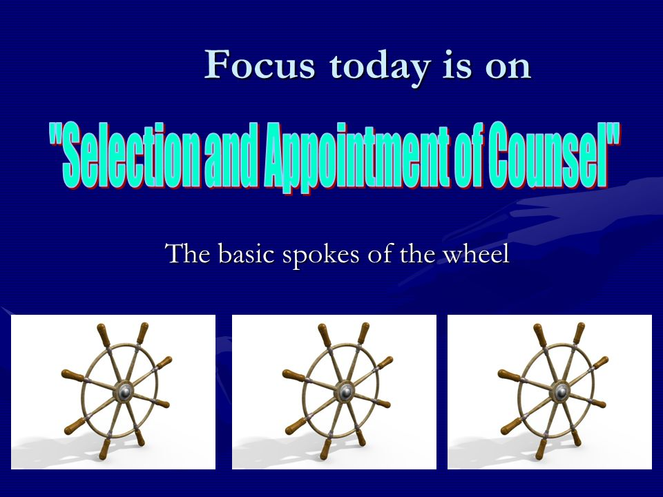 The basic spokes of the wheel