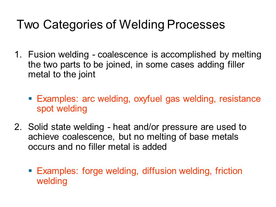 Two Categories of Welding Processes