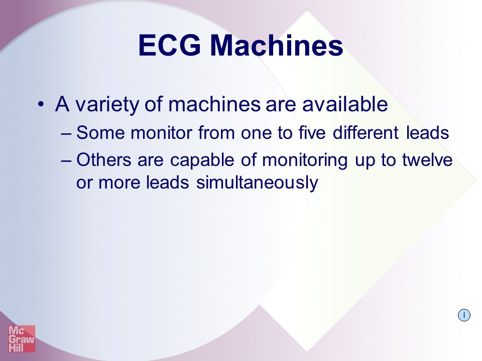 ECG Machines A variety of machines are available
