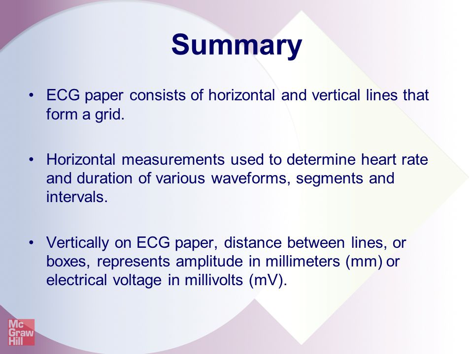 Summary ECG paper consists of horizontal and vertical lines that form a grid.