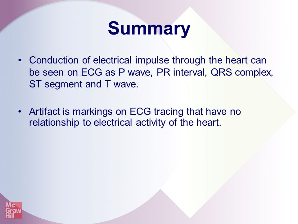 Summary Conduction of electrical impulse through the heart can be seen on ECG as P wave, PR interval, QRS complex, ST segment and T wave.