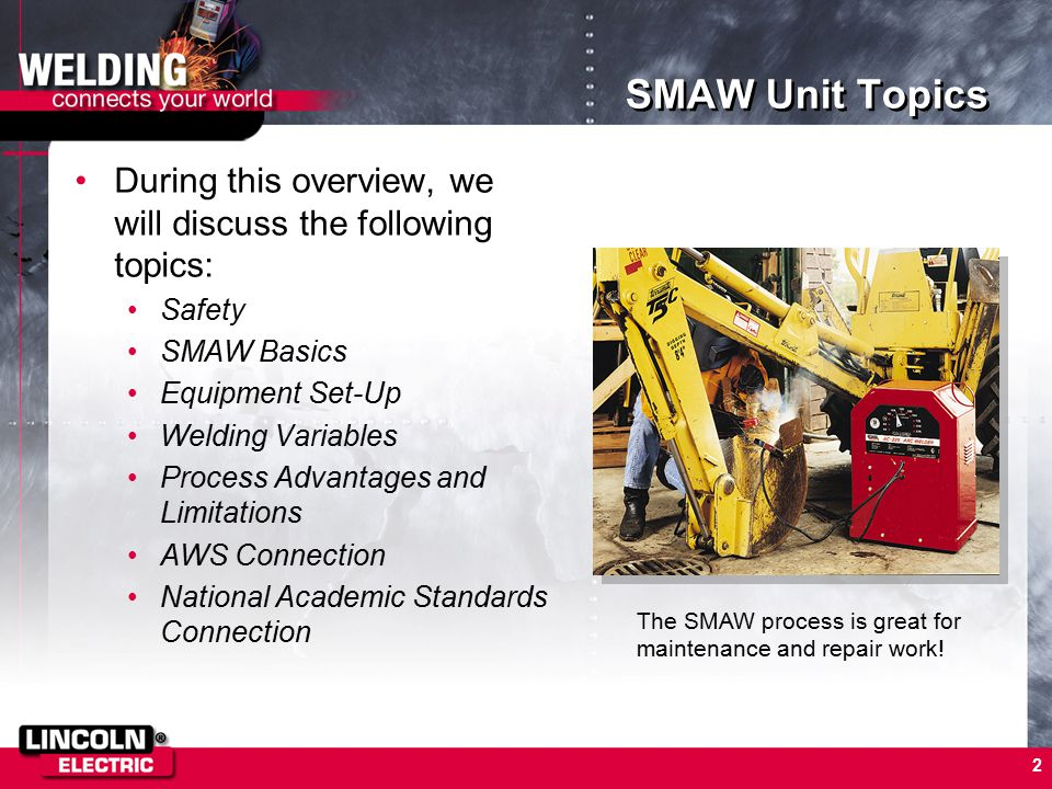 SMAW Unit Topics During this overview, we will discuss the following topics: Safety. SMAW Basics.