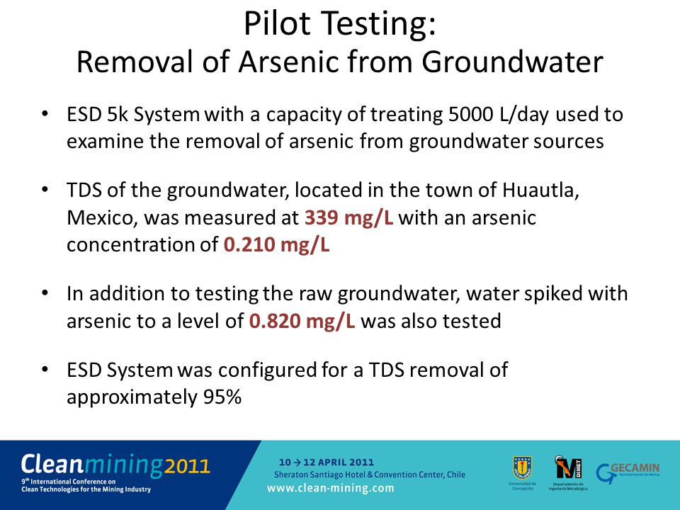 Pilot Testing: Removal of Arsenic from Groundwater