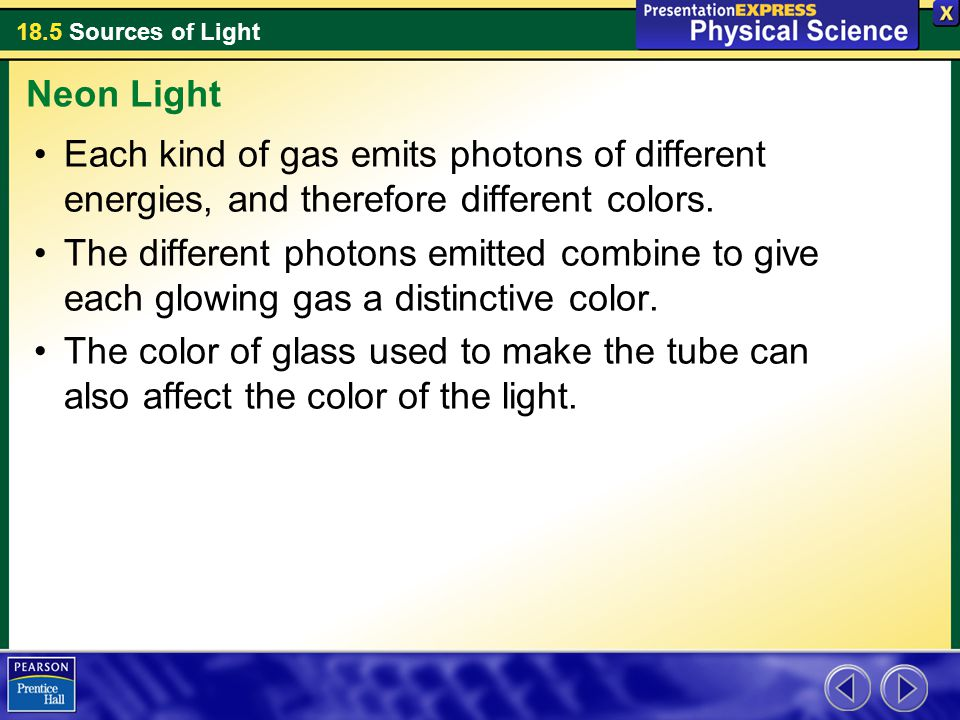 Neon Light Each kind of gas emits photons of different energies, and therefore different colors.