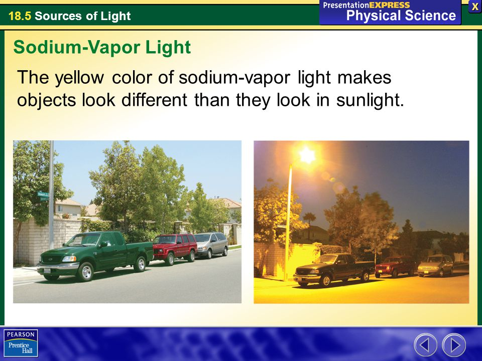 Sodium-Vapor Light The yellow color of sodium-vapor light makes objects look different than they look in sunlight.