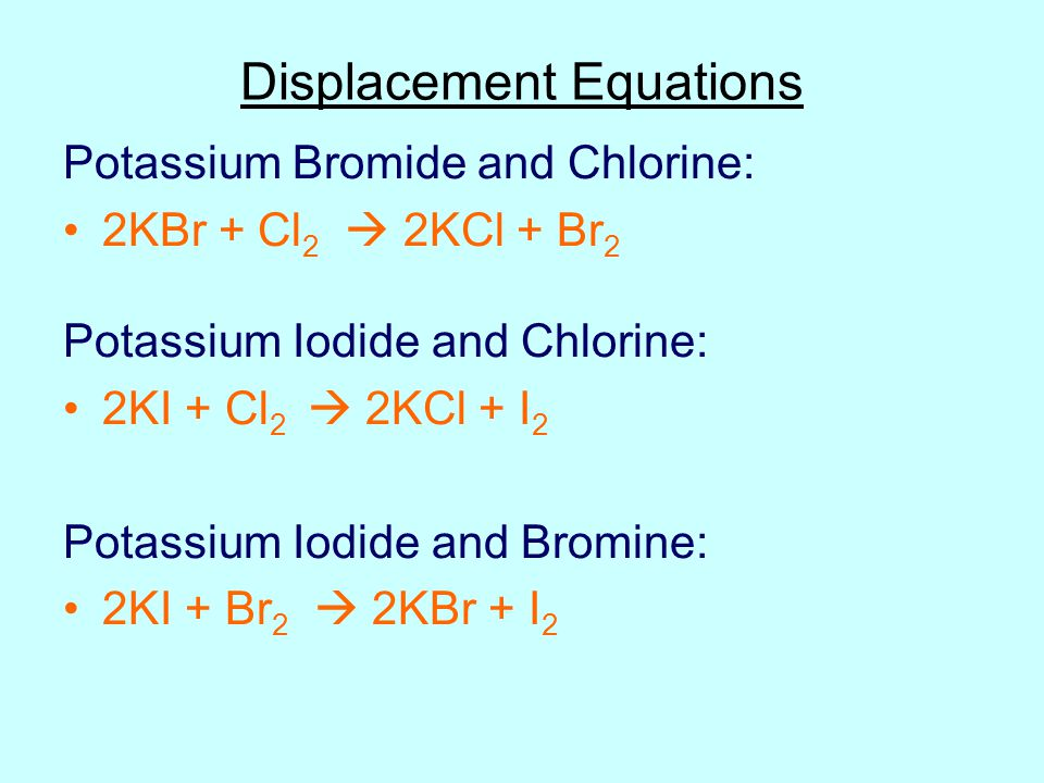 bromine and potassium iodide word equation