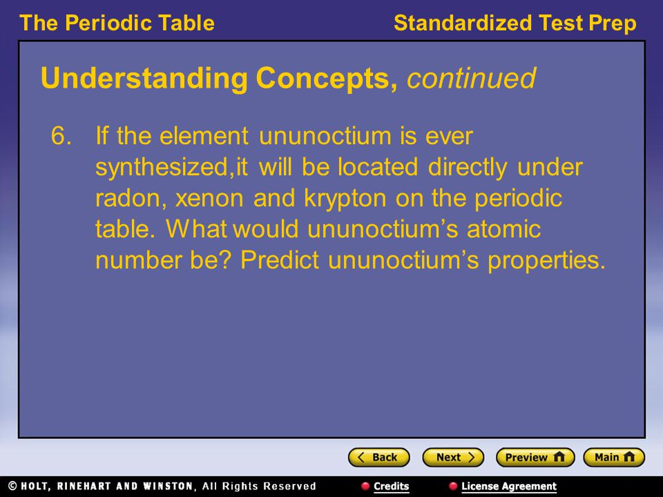 The periodic table preview understanding concepts reading skills 12 understanding concepts continued if the element ununoctium is ever urtaz Gallery