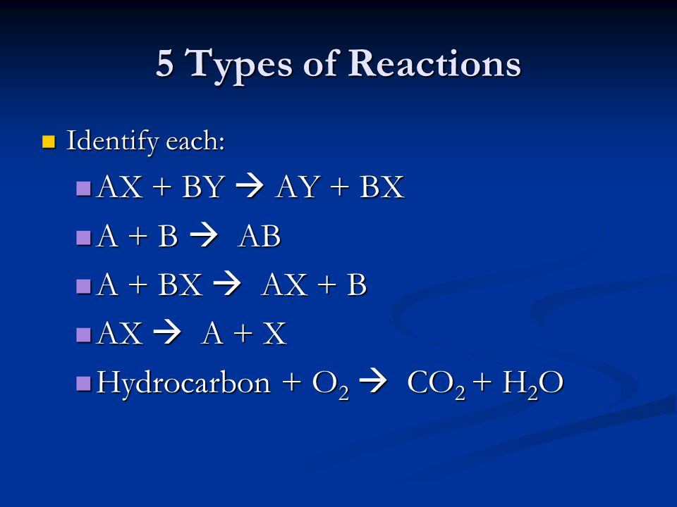 5 Types of Reactions AX + BY  AY + BX A + B  AB A + BX  AX + B