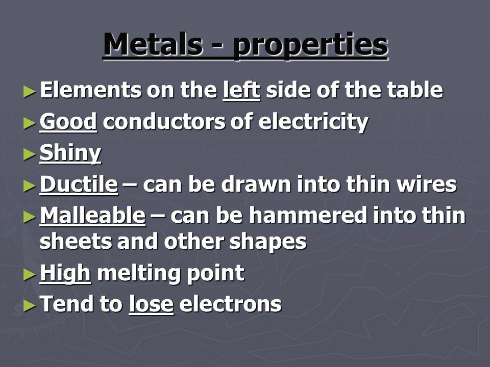 Metals - properties Elements on the left side of the table