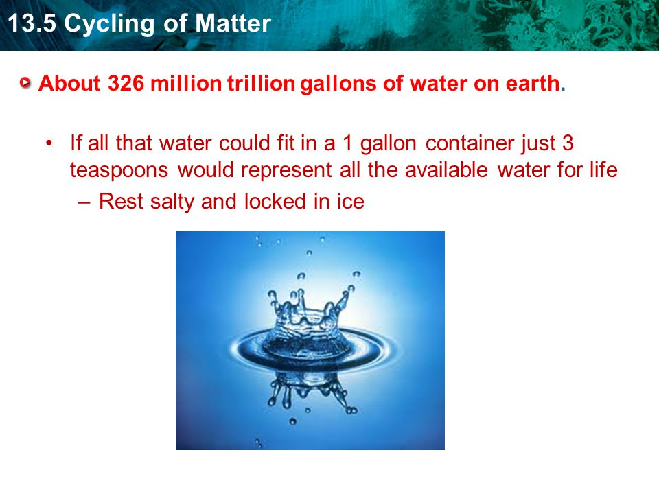About 326 million trillion gallons of water on earth.