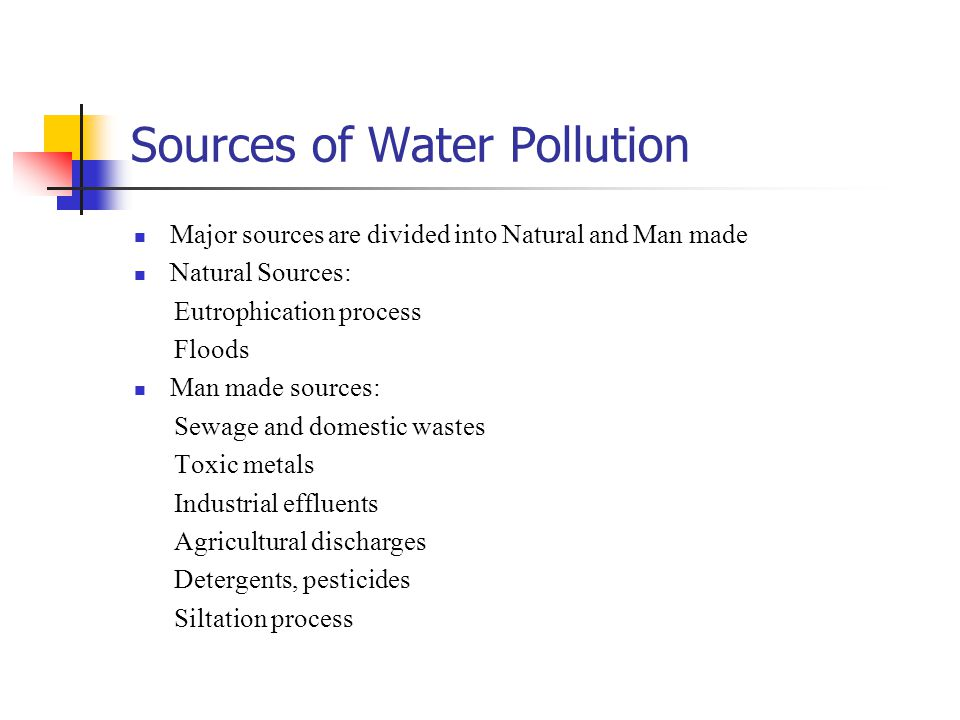 man made sources of water