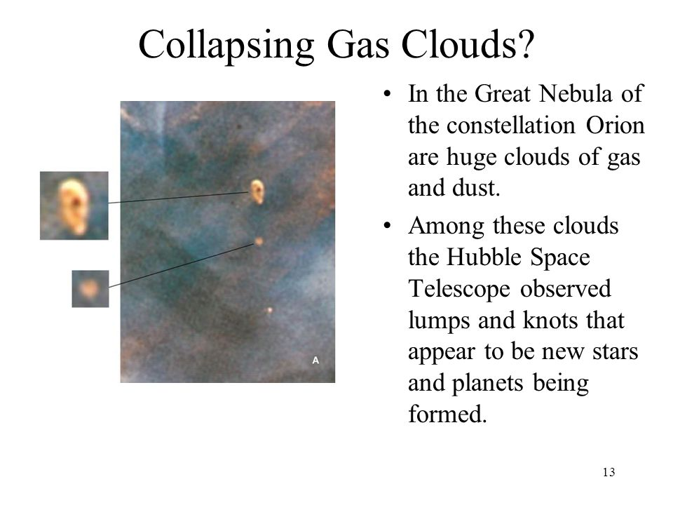 Collapsing Gas Clouds In the Great Nebula of the constellation Orion are huge clouds of gas and dust.