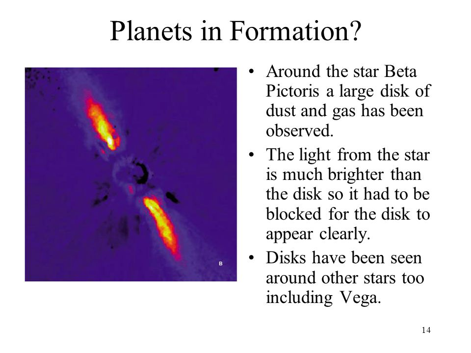 Planets in Formation Around the star Beta Pictoris a large disk of dust and gas has been observed.