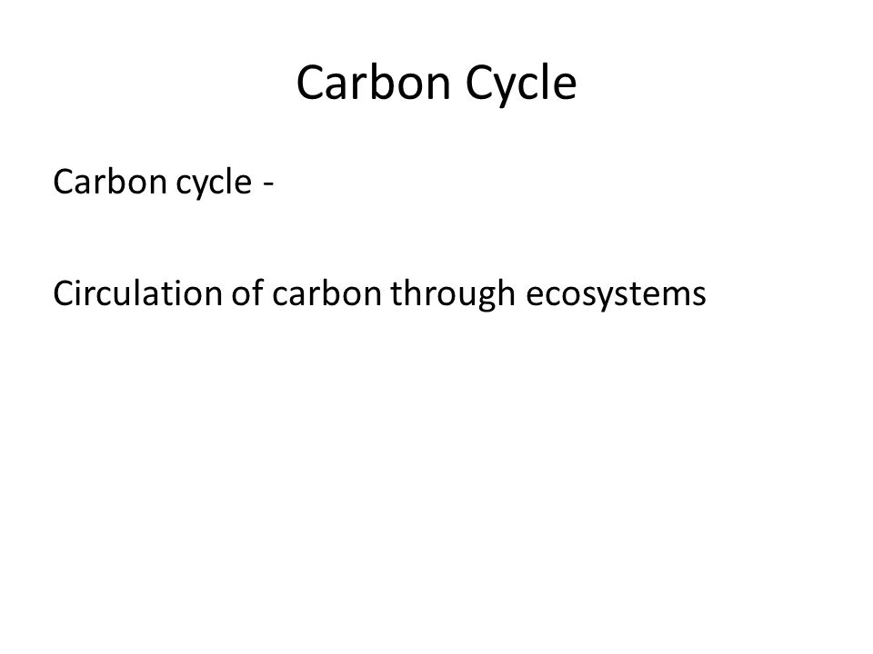 Carbon Cycle Carbon cycle - Circulation of carbon through ecosystems