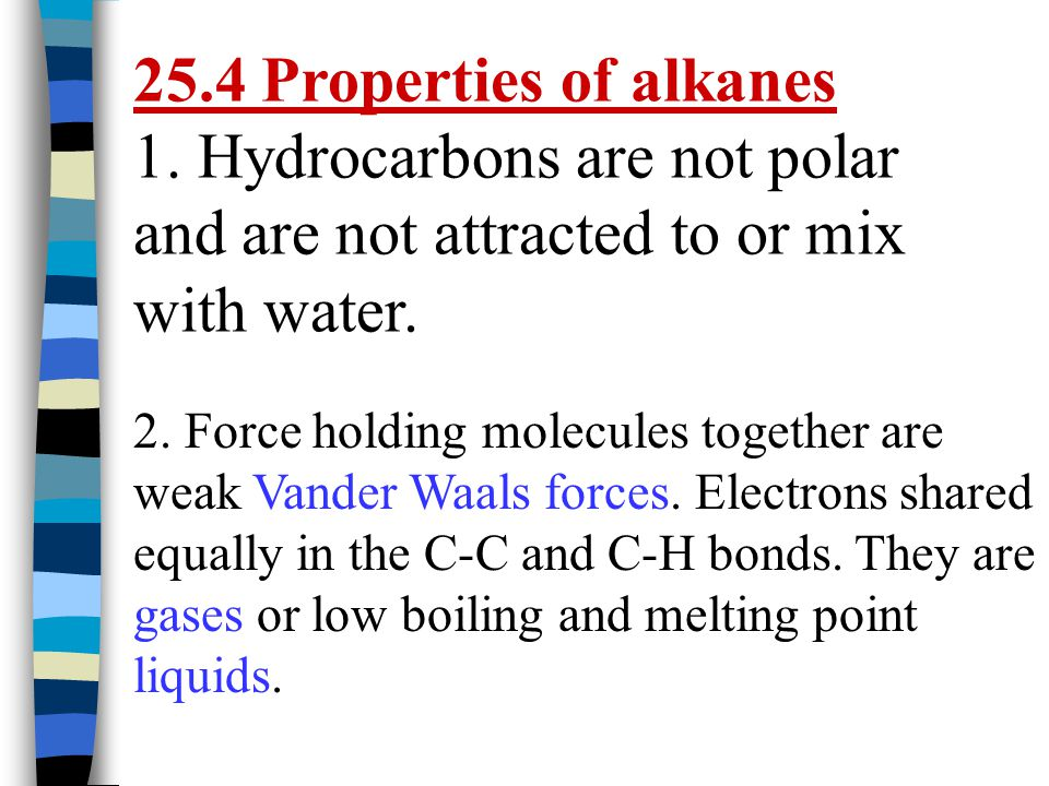 25.4 Properties of alkanes 1. Hydrocarbons are not polar and are not attracted to or mix with water.
