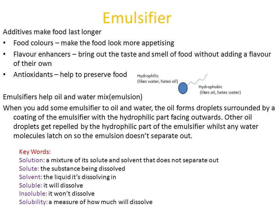Core Chemistry (C1) Topics: Emulsifiers Cooking and Chemical