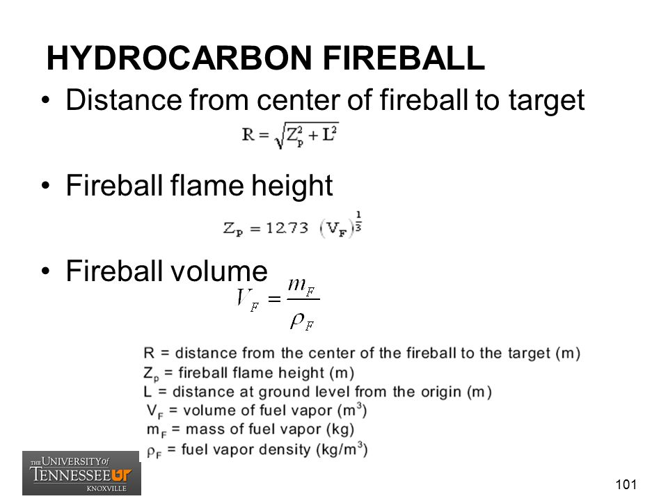 HYDROCARBON FIREBALL Distance from center of fireball to target