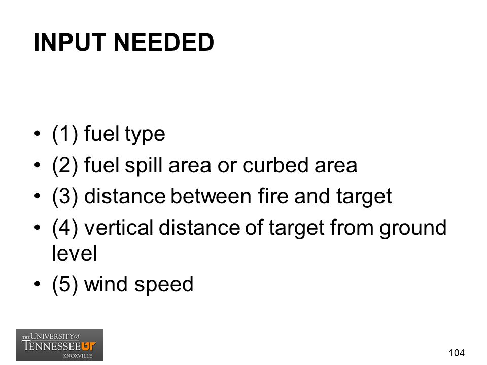 INPUT NEEDED (1) fuel type (2) fuel spill area or curbed area