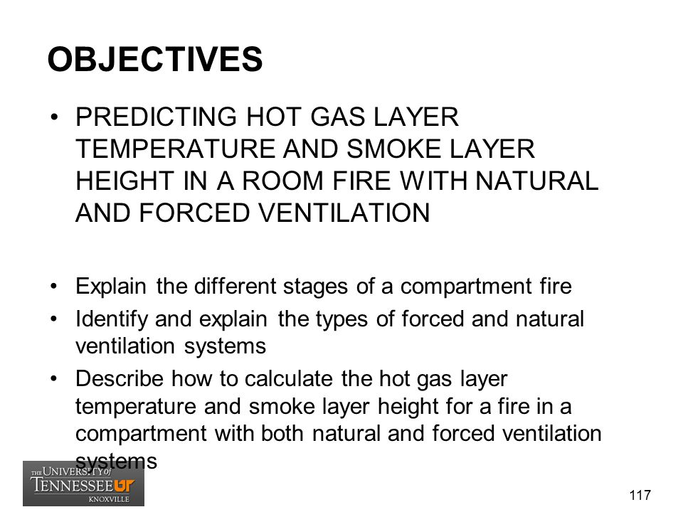 OBJECTIVES PREDICTING HOT GAS LAYER TEMPERATURE AND SMOKE LAYER HEIGHT IN A ROOM FIRE WITH NATURAL AND FORCED VENTILATION.