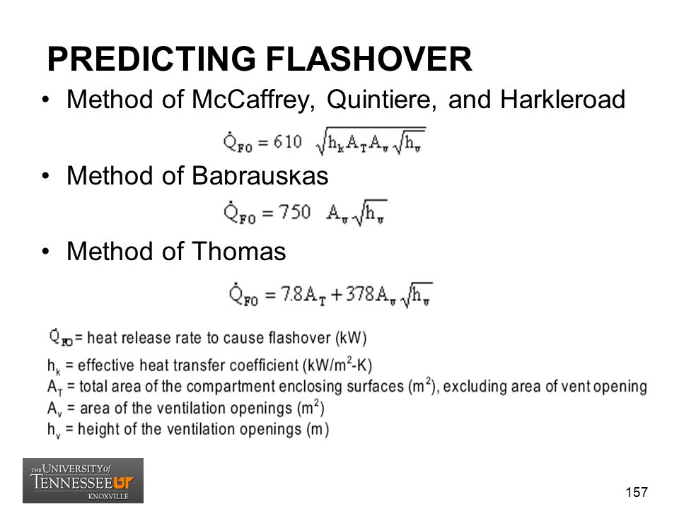 PREDICTING FLASHOVER Method of McCaffrey, Quintiere, and Harkleroad