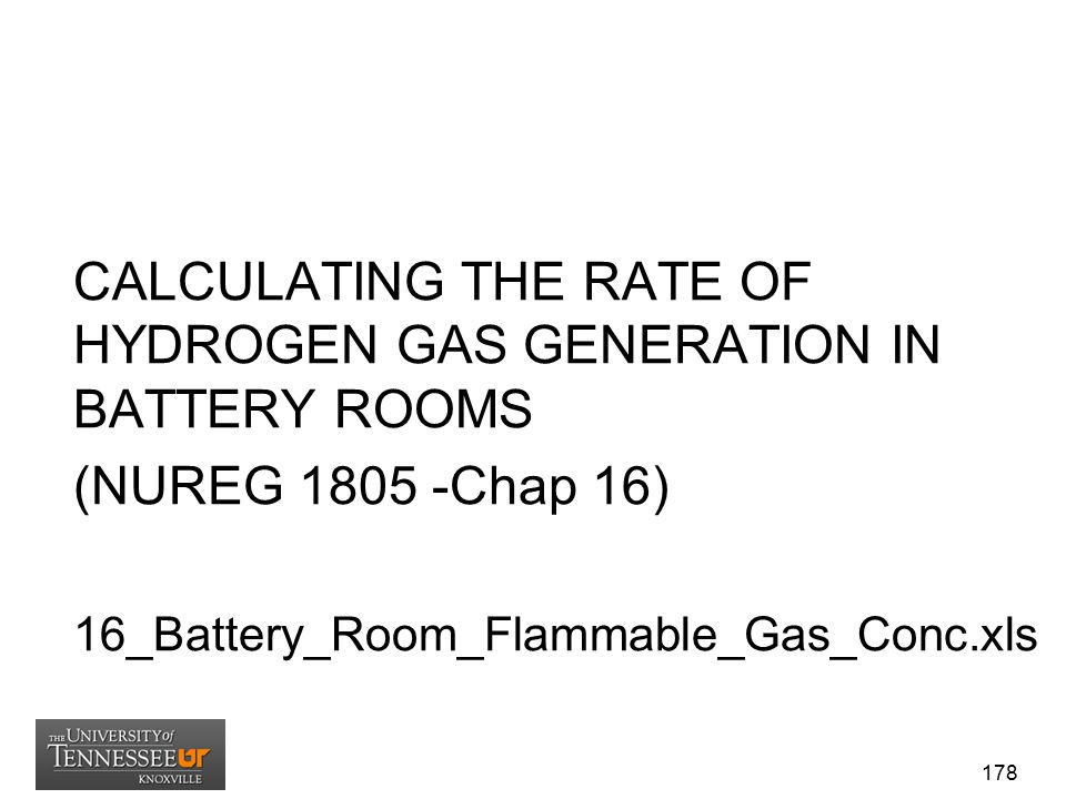 CALCULATING THE RATE OF HYDROGEN GAS GENERATION IN BATTERY ROOMS