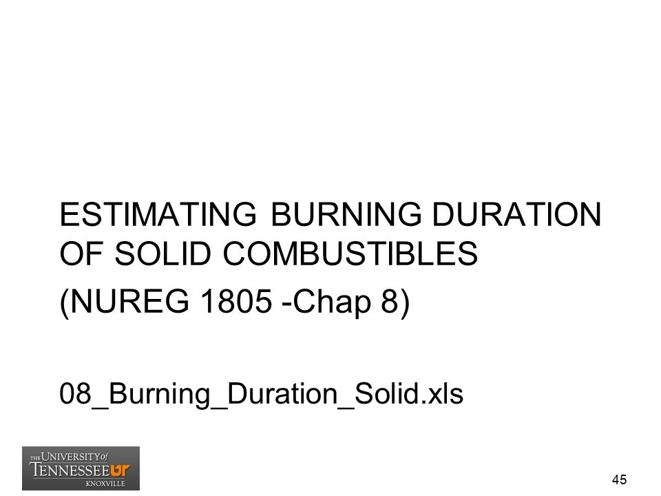 ESTIMATING BURNING DURATION OF SOLID COMBUSTIBLES (NUREG 1805 -Chap 8)