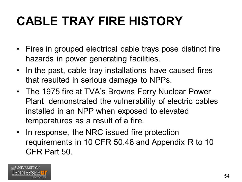CABLE TRAY FIRE HISTORY