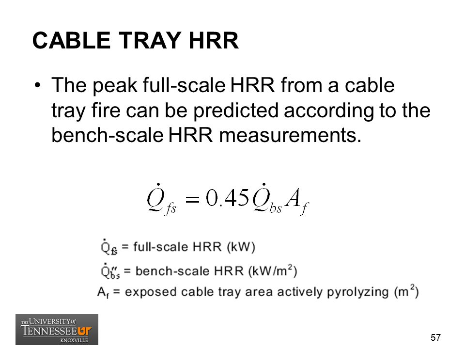 CABLE TRAY HRR The peak full-scale HRR from a cable tray fire can be predicted according to the bench-scale HRR measurements.