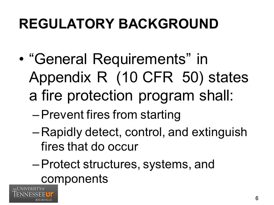 REGULATORY BACKGROUND