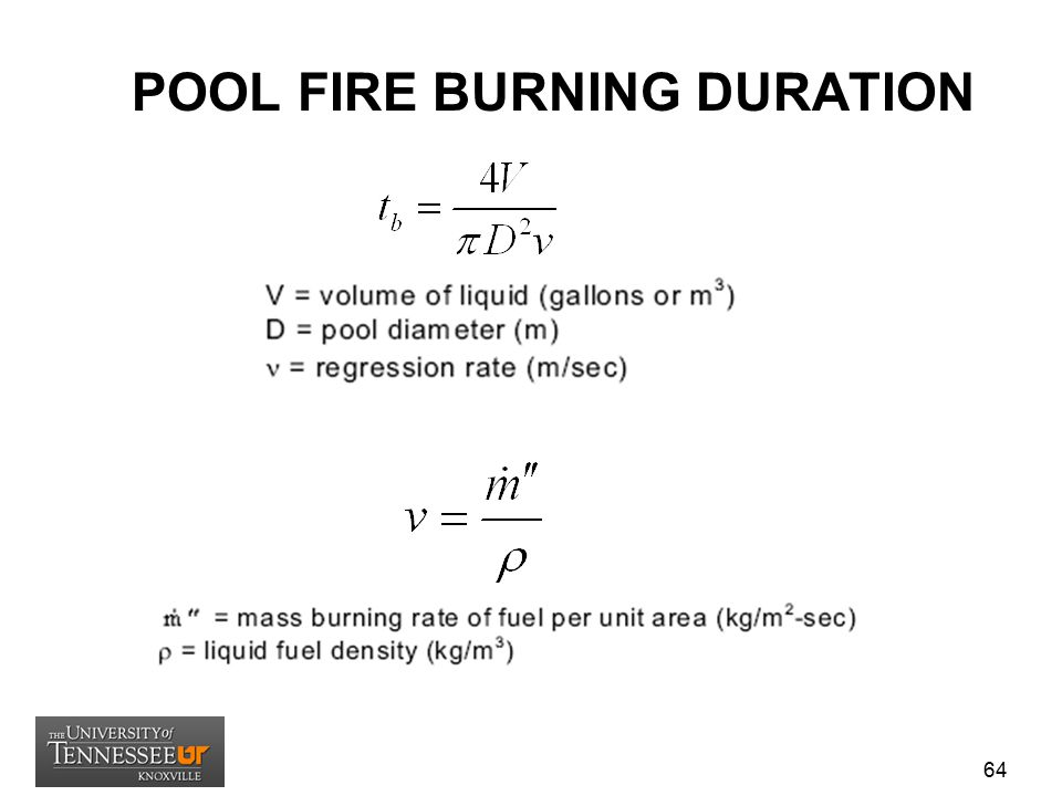 POOL FIRE BURNING DURATION