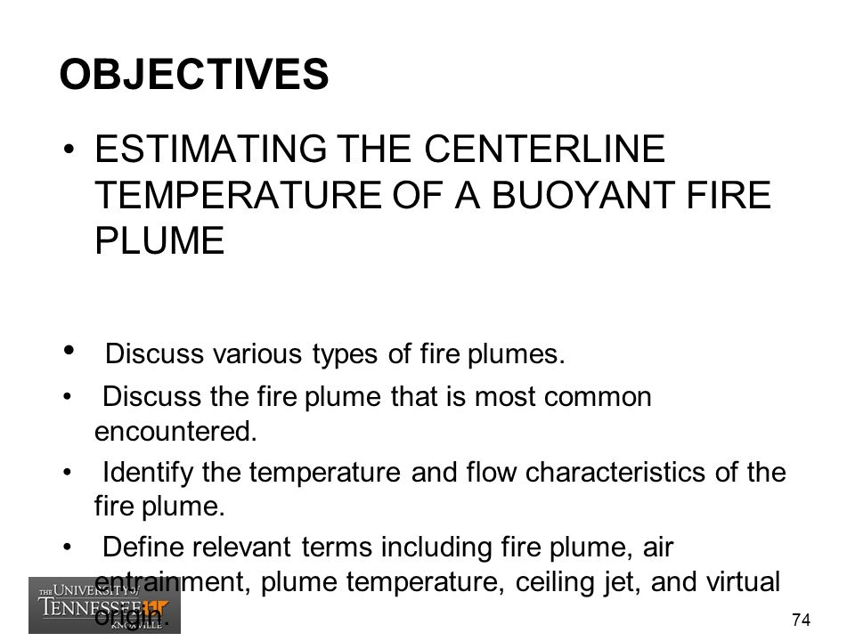 OBJECTIVES ESTIMATING THE CENTERLINE TEMPERATURE OF A BUOYANT FIRE PLUME. Discuss various types of fire plumes.