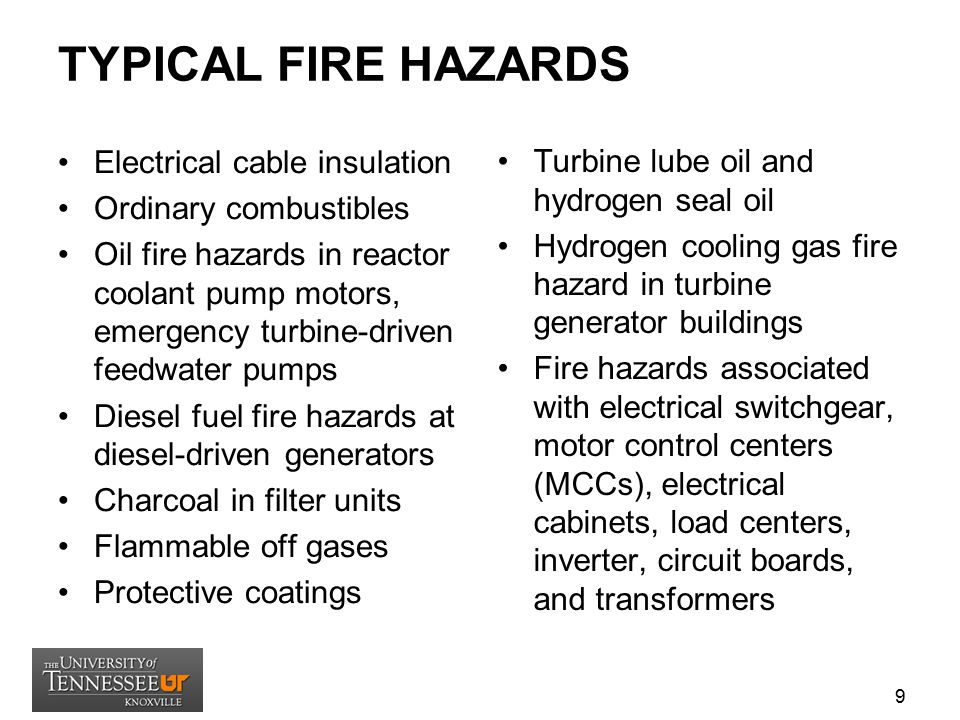 TYPICAL FIRE HAZARDS Electrical cable insulation