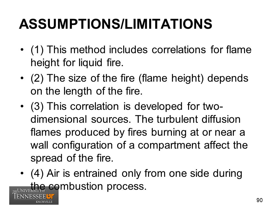 ASSUMPTIONS/LIMITATIONS