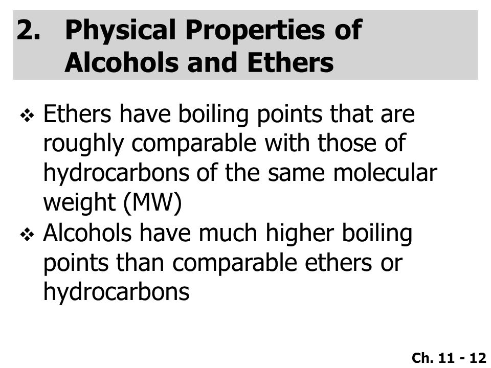 Physical Properties Of Ethers And Alcohols