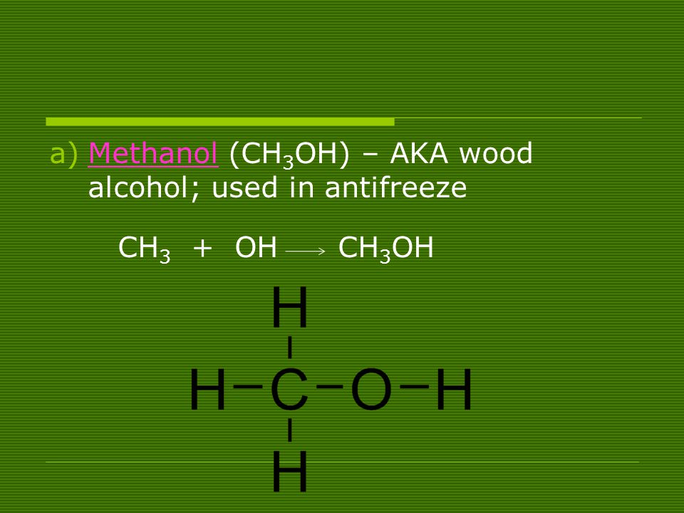 Methanol (CH3OH) – AKA wood alcohol; used in antifreeze