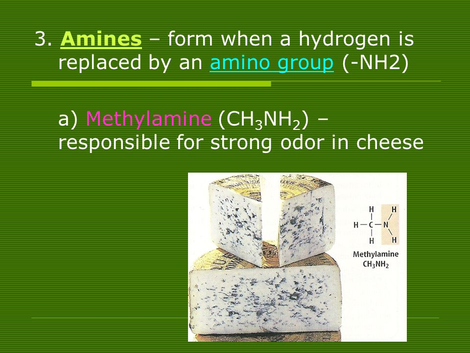 3. Amines – form when a hydrogen is replaced by an amino group (-NH2)