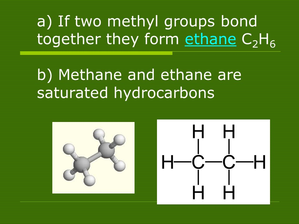 a) If two methyl groups bond together they form ethane C2H6