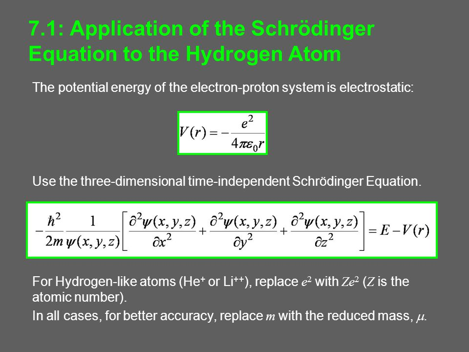 7.1: Application of the Schrödinger Equation to the Hydrogen Atom