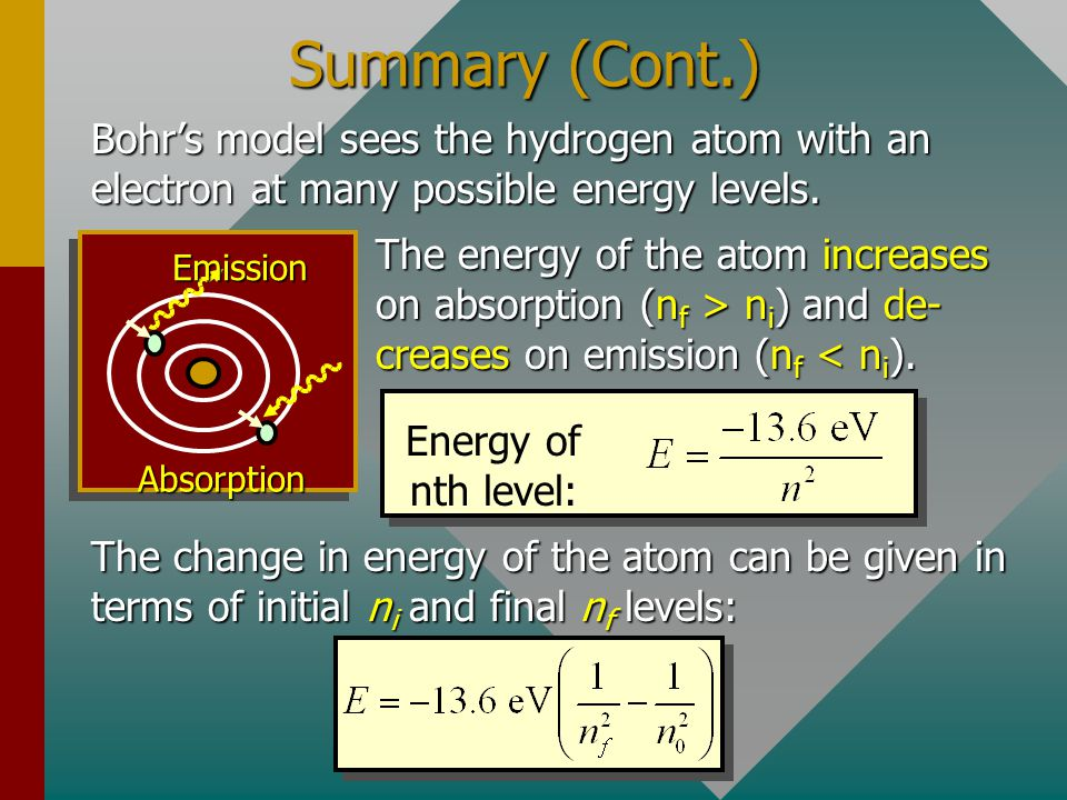 Summary (Cont.) Bohr's model sees the hydrogen atom with an electron at many possible energy levels.