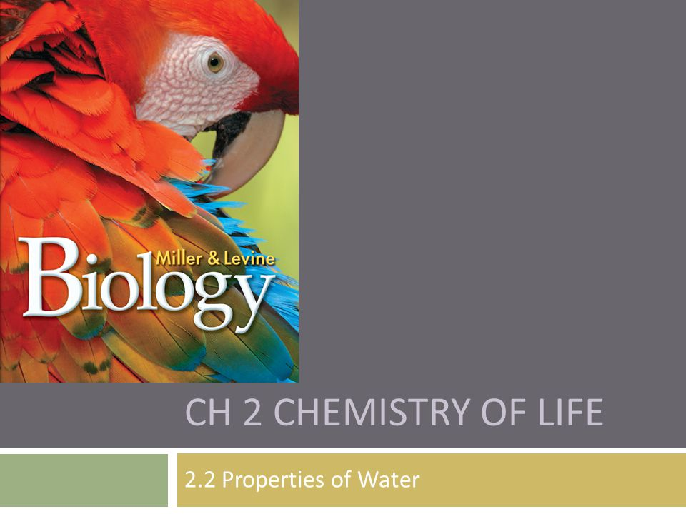 Ch 2 Chemistry of Life 2.2 Properties of Water