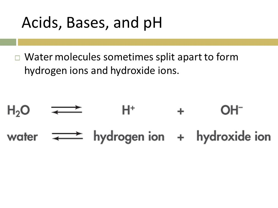 Acids, Bases, and pH Water molecules sometimes split apart to form hydrogen ions and hydroxide ions.